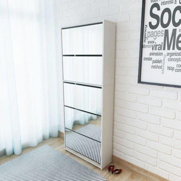 Schoenenkast met 5 spiegels 63x17x169,5 cm wit