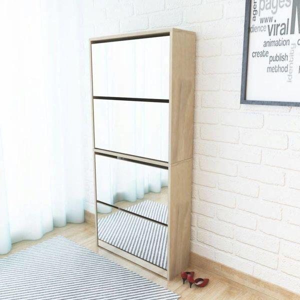 Schoenenkast met 4 spiegels 63x17x134 cm eikenhout