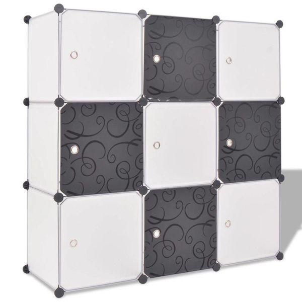 Opbergmeubel met 9 vakken zwart en wit