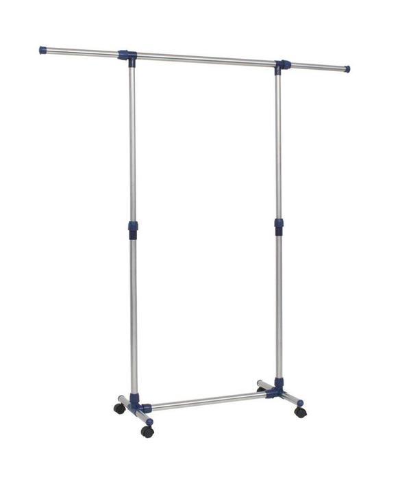 vidaXL Kledingrek verstelbaar 165x44x150 cm roestvrij staal zilver