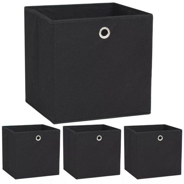 Opbergdozen 32x32x32 cm ongeweven stof zwart 4 stuks