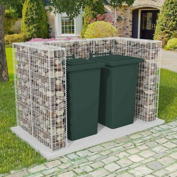 Schanskorf dubbele vuilnisbak ombouw 180x100x120 cm staal