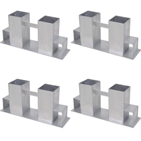 Brandhout stapel ondersteuner 4 stuks staal zilver