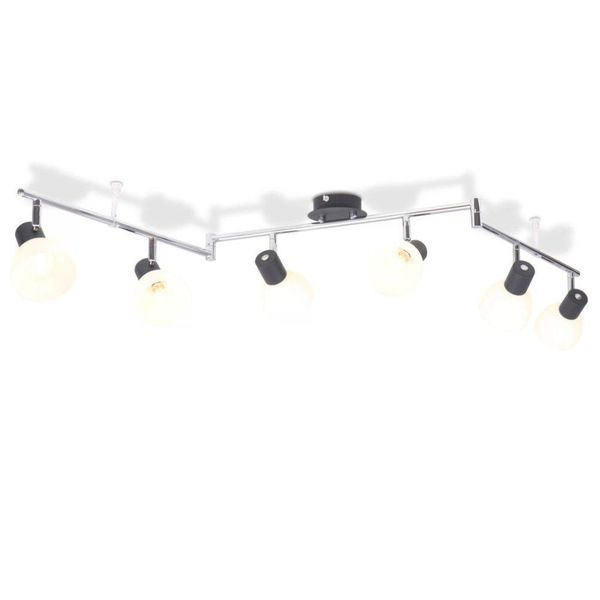 Plafondlamp met 6 spotlights E14 zwart