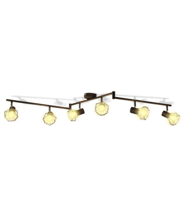 vidaXL Lamp in industriële stijl met 6 LED spotjes, zwart