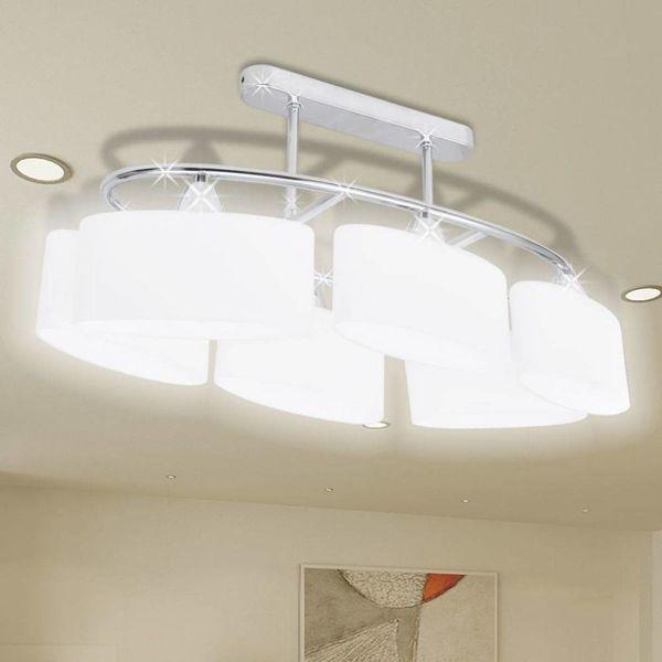 Plafondlamp met ellipsvormige glazen kappen 6xE14