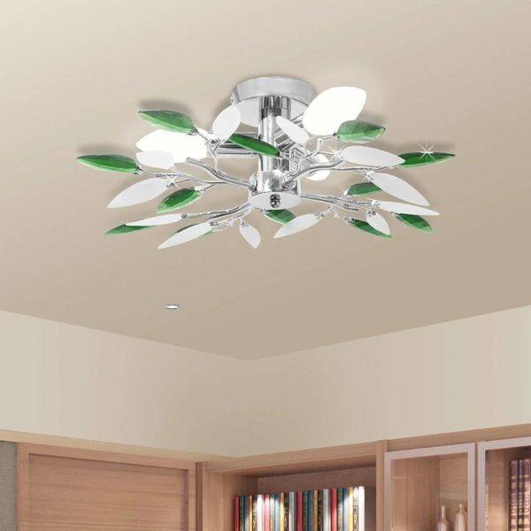Plafondlamp witte en groene acryl kristal bladeren 3xE14
