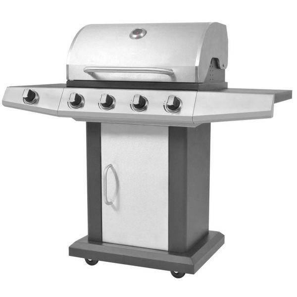 Gasbarbecue en grill 4+1 kookzone zwart en zilver