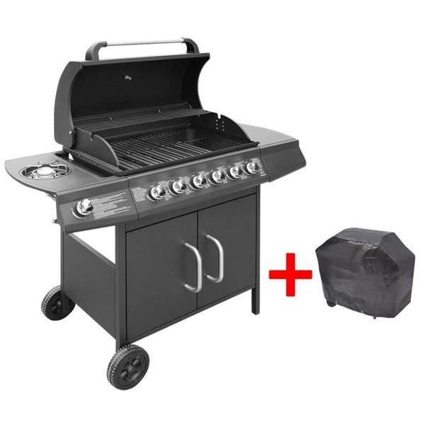 Gasbarbecue 6+1 kookzone zwart