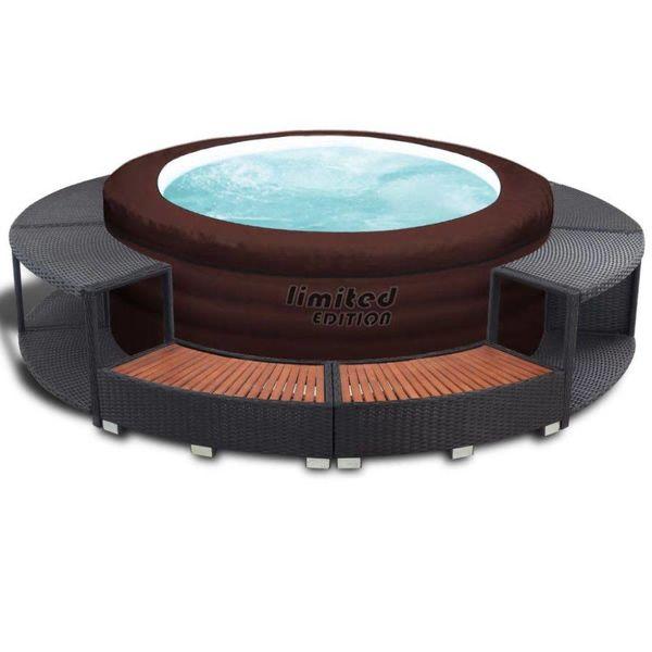 LAY-Z-SPA Hot tub met poly rattan rand opblaasbaar 12220
