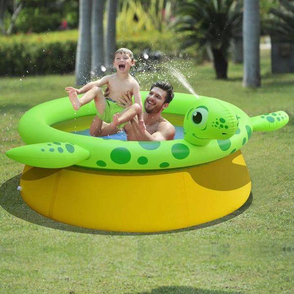 Opblaasbaar zwembad schildpad + sproeifunctie 175x62 cm 1270 L
