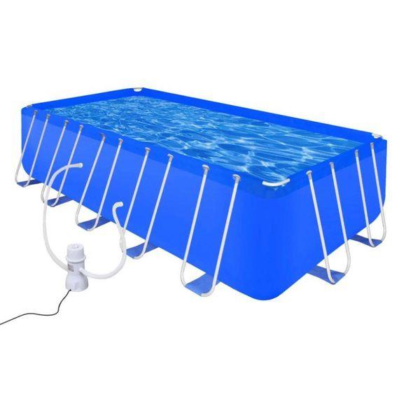 Opbouwzwembad met stalen frame en pomp 540 x 270 x 122 cm