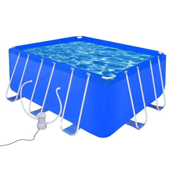 Opbouwzwembad met stalen frame en pomp 400 x 207 x 122 cm