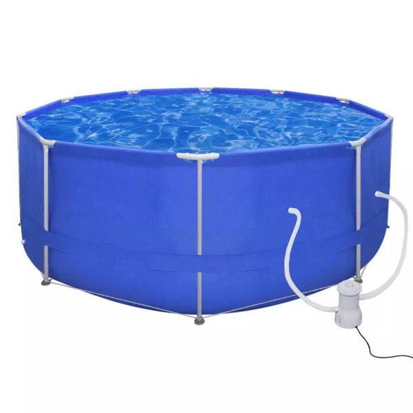 Opbouwzwembad met stalen frame en pomp  367 cm rond