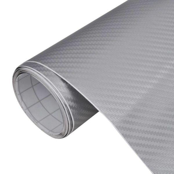 Carbon vinyl auto wrapping folie 3D zilver 500 x 152 cm