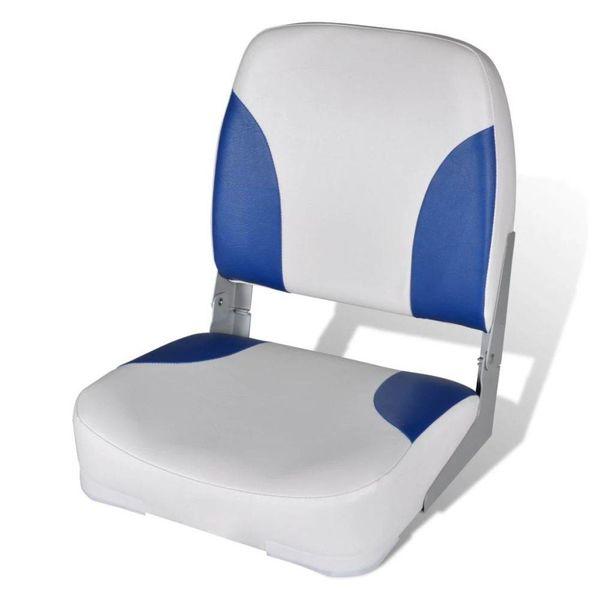 Opklapbare bootstoel met blauw-wit kussen 41 x 36 x 48 cm