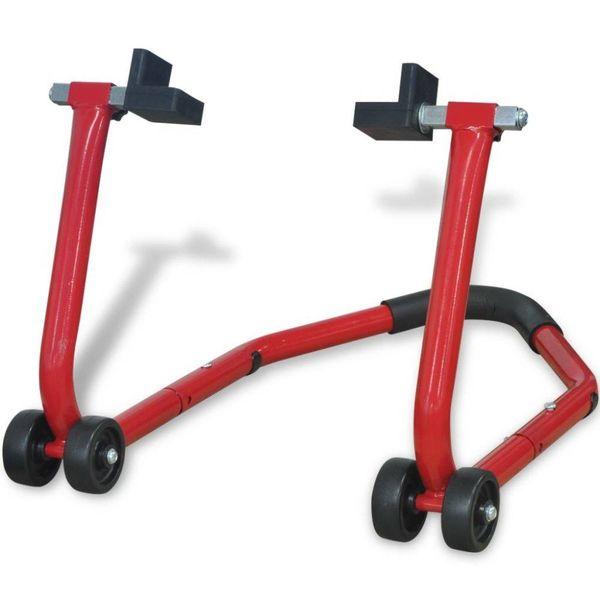 Motorfiets achterwiel paddock standaard rood