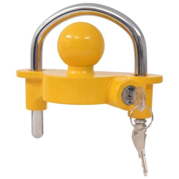 Aanhangwagenslot met 2 sleutels staal en aluminiumlegering geel