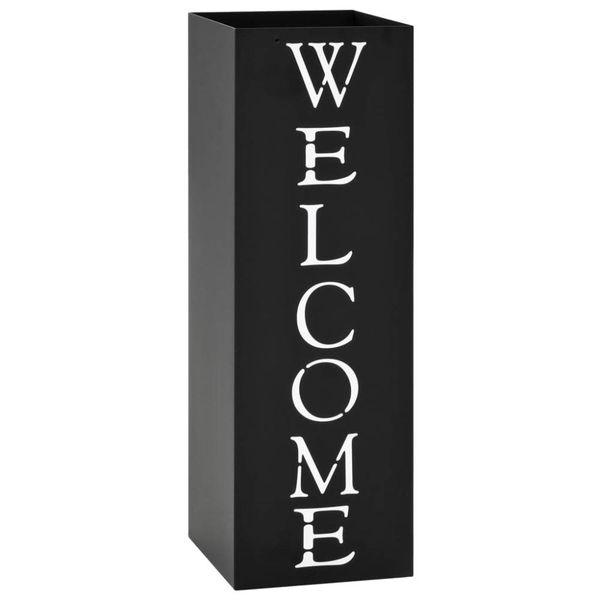 Parapluhouder Welcome staal zwart