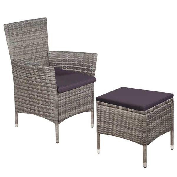 Buitenstoel en kruk met kussens poly rattan grijs