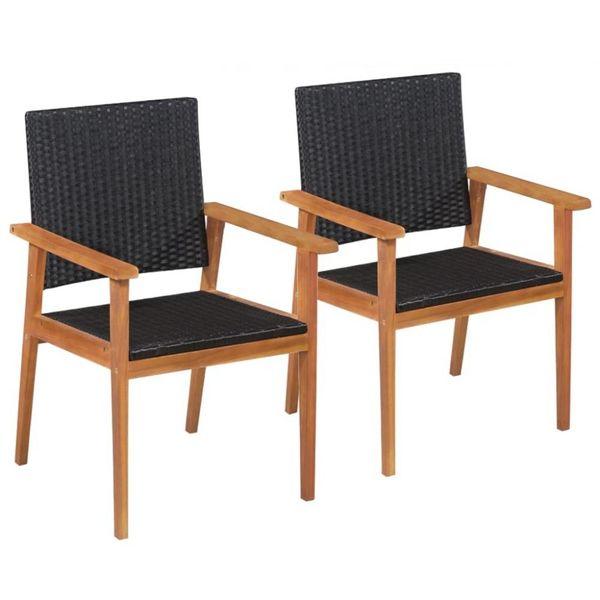 Buitenstoelen 2 st poly rattan zwart en bruin