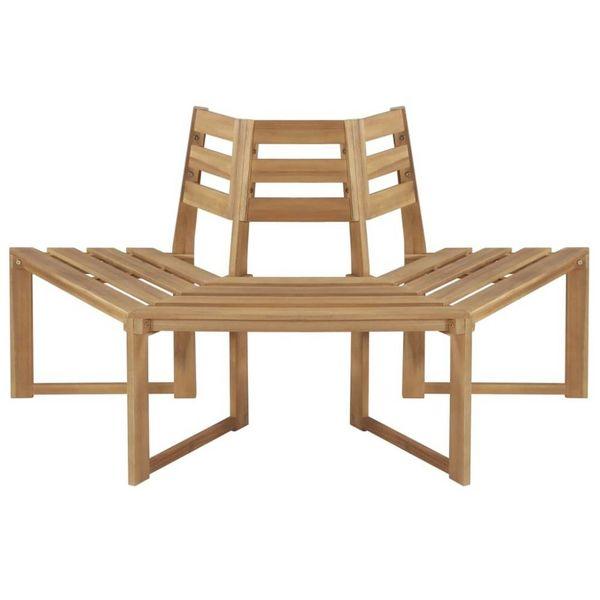 Boombank half-zeshoekig 160 cm massief acaciahout