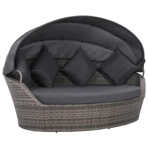 Loungebed met luifel 200x120x140 cm poly rattan grijs