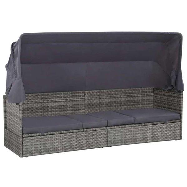 Loungebed met luifel 205x62x124 cm poly rattan grijs