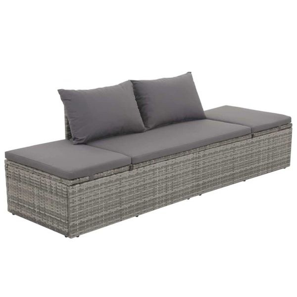 Loungebed 195x60x60 cm poly rattan grijs