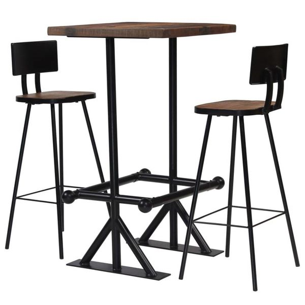 Barset massief gerecycled hout 3-delig
