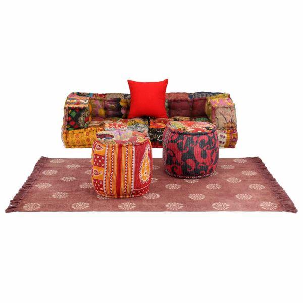 Bankstel modulair stof patchwork 6-delig