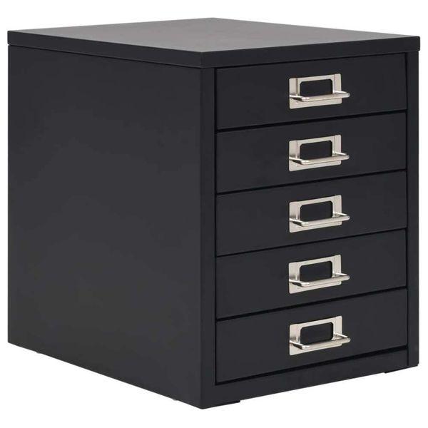 Archiefkast met 5 laden 28x35x35 cm metaal zwart