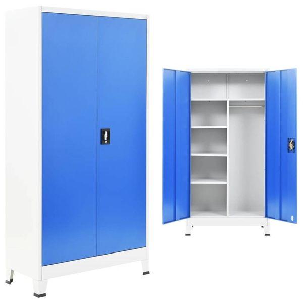 Lockerkast met 2 deuren 90x40x180 cm metaal grijs en blauw