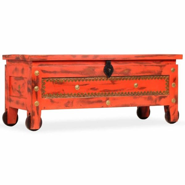 Opbergkist 101x39x42 cm massief mangohout rood