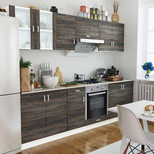 Keukenkastenset met 8-functie-inbouwoven wenge-look