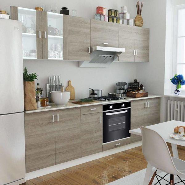 Keukenkastenset met 6-functie-inbouwoven eiken-look