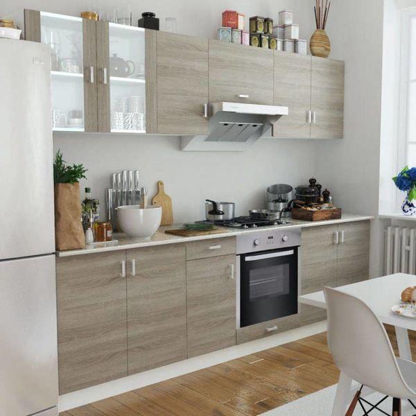 Keukenkastenset met 8-functie-inbouwoven eiken-look