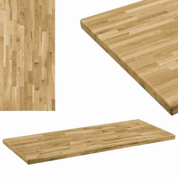 Tafelblad rechthoekig 44 mm 140x60 cm massief eikenhout