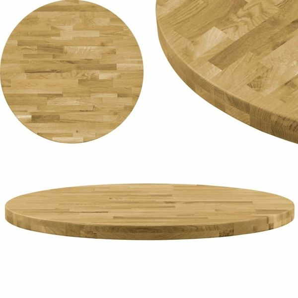 Tafelblad rond 44 mm 800 mm massief eikenhout