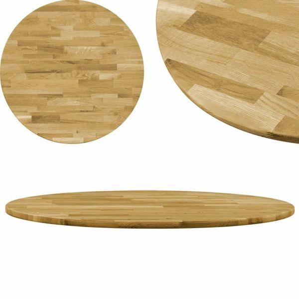 Tafelblad rond 23 mm 800 mm massief eikenhout