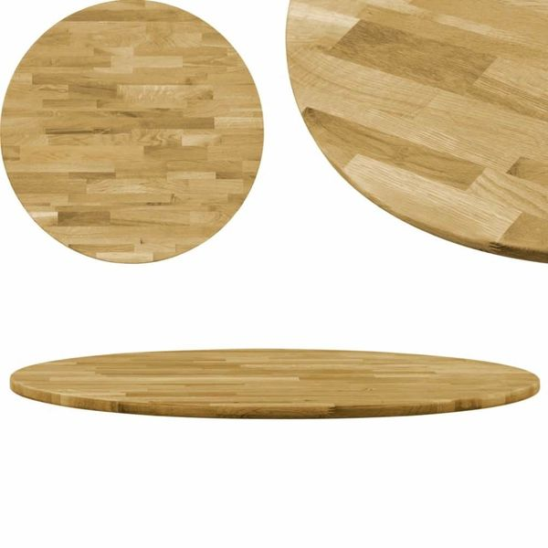 Tafelblad rond 23 mm 500 mm massief eikenhout