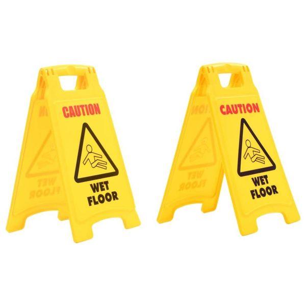 Waarschuwingsborden Caution Wet Floor 47 cm kunststof 2 st