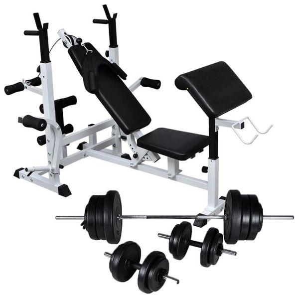 Gewichtenbank met gewichtenrek en halterset 60,5 kg