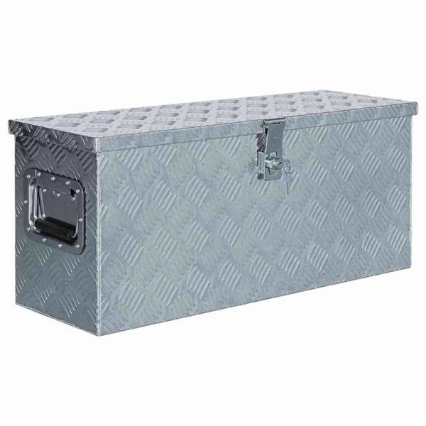 Doos 76,5x26,5x33 cm aluminium zilverkleurig