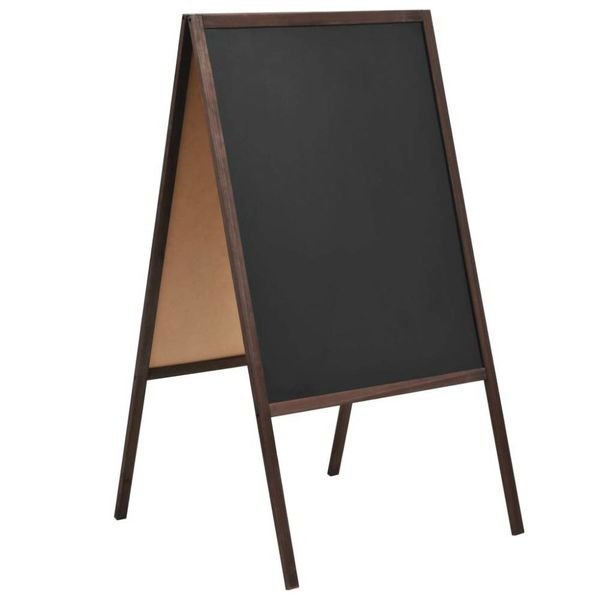 Krijtbord dubbelzijdig vrijstaand 60x80 cm cederhout