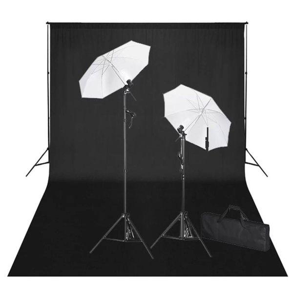Studioset met zwarte achtergrond en lampen 600x300 cm