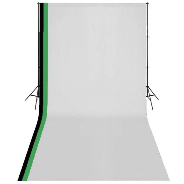 Fotostudioset met 3 katoenen achtergronden en frame 3x6 m