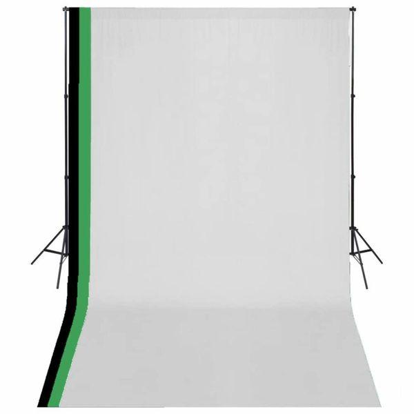 Fotostudioset met 3 katoenen achtergronden en frame 3x5 m