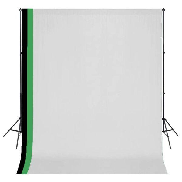 Fotostudioset met 3 katoenen achtergronden en frame 3x3 m