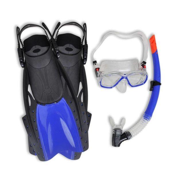 Duik en snorkel set met flippers en bril blauw voor volwassenen  38-42